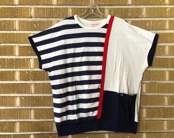 plus size 90s sailor striped top
