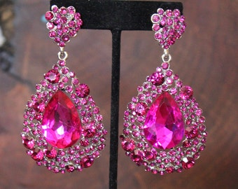 original on gold glass hot pink ruby fuschia earrings product