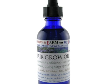 All natural Hair Grow Oil for balding and thinning hair promotes hair growth and healthy scalp 2 and 4 ounce sizes