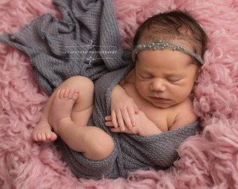 Pewter Pearls Mohair Halo Tieback Headband Newborn Photography