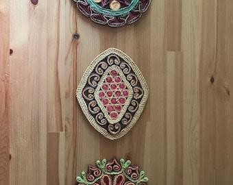 Bohemian Natural Woven Trivets Wall Hanging Decor Vintage 1970's