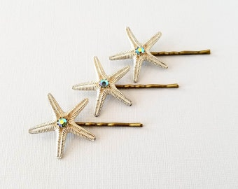 Blue Rhinestone Starfish Bobby Pins, Starfish Hair Pin, Beach Wedding, Mermaid Hair Pin, Nautical Hair Pin, Ocean Hair Pin, Sea Star Hair