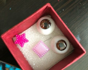 16mm Sparkly Brown eyes/ BLK/PL