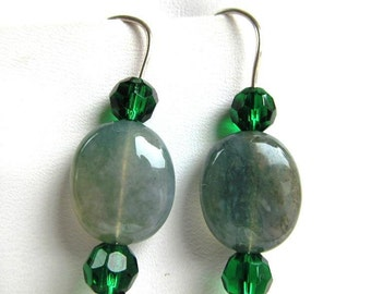 Stacker Earrings of  Moss Agate Ovals and Green Faceted Glass Beads on Sterlling Silver