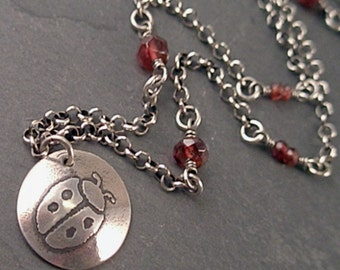 Anna Necklace - Sterling Silver and Garnets