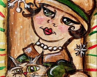 Woman and cat art print, Giclée Art Print, Wall Hanging, Art Decor, Painting Art Print, woman and cat, room decor, kitty cat art print, home