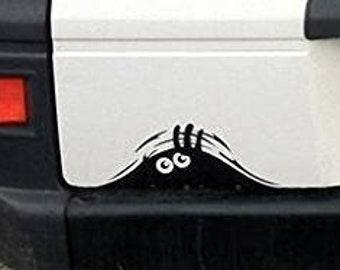Funny peeking monster decal, sticker, vinyl
