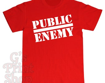 PUBLIC ENEMY Text T Shirt - Chuck D - Flavor Flav - Professor Griff - Khari Wynn - Dj Lord - Hip Hop - Rap - White