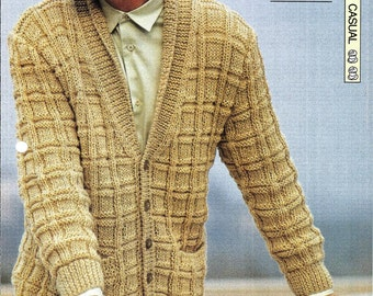 """Knitting pattern - Man's """"Checkmate"""" cardigan jacket - Instant download"""