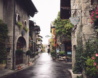 French Street Photograph Print // Yvoire Rue Photography // France Town Flower Photo //  Jenna Woodward Photography