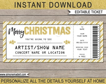 Christmas Gift Concert Ticket - Concert, Show, Performance, Band - Printable Gift Certificate or Voucher - INSTANT DOWNLOAD - EDITABLE text