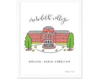 Meredith College Johnson Hall | North Carolina | Art Print