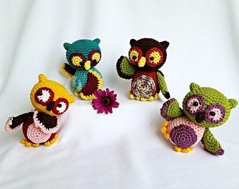 "PDF: Amigurumi ""Funny Owls"" Crochet Pattern"
