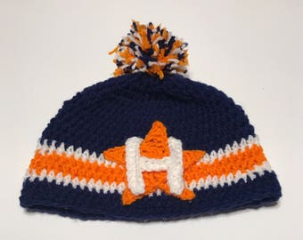 Handmade Crochet Astros inspired Crochet Hat with Pom or without Messy Bun Crochet Beanie