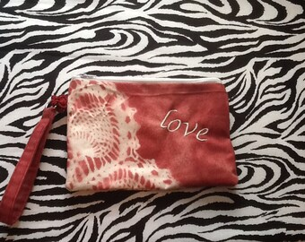Cute Vintage style  hand painted embroidered  Wristlet