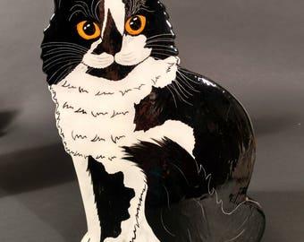 Tuxedo Cat Vase by Nina Lyman of Cats By Nina
