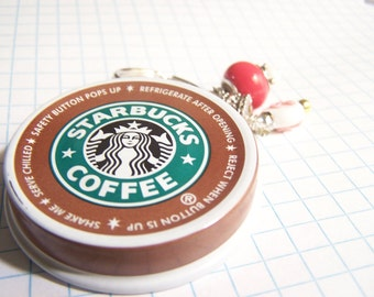 Starbucks Coffee: Keychain, Coffee Keychain, good morning, Hot Chocolate, Hand stamped, Upcycled