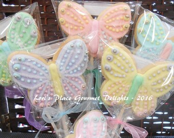 Sparkle Butterfly Cookie Pops - Butterfly Cookies - 12 Cookie Pops