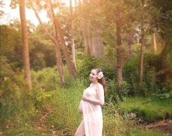 cream chiffon maternity gown / chiffon maternity dress, maxi dress,