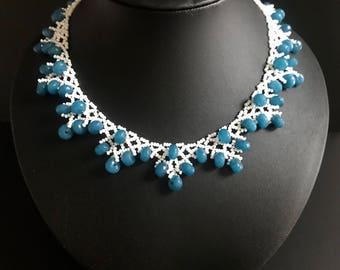 Aqaumarine Crystal Necklace