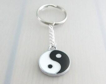 Yin Yang Charm Keychain, Yoga Charm Keychain, Black And White Yin Yang Keyring, Gift For Friends, Yoga Gift, Zen Gift, Valentines Gift