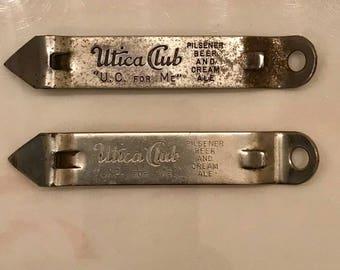 Lot of Two Utica Club Beer Bottle Openers Vaughan Walden 1950 - 1960 Era Man Cave Breweriana