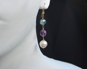 Pearl Amethyst Murano Gold Earrings
