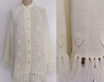 1970's White Acrylic Fringe Cape Floral Embroidered Knit Poncho Size All by Maeberry Vintage