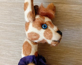 little giraffe, author's toy OOAK, hand made, author's toy, teddy bear friend, jointed, stuffed animals, plush animals