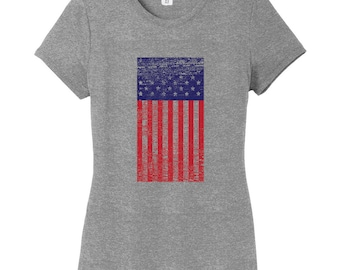 Rustic American Flag - Patriotic Women's Fitted T-Shirt