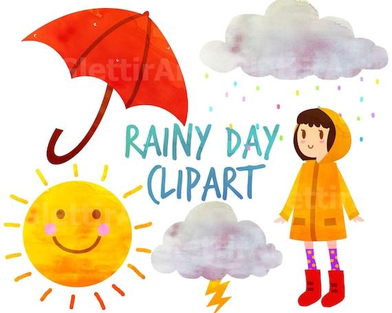 rainy day clipart weather clipart umbrella clipart for rh etsy com rainy day clipart black and white rainy day clipart black and white