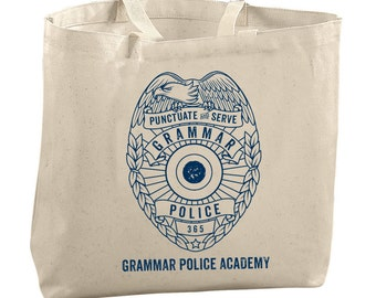 Grammar Police Academy Tote Bags for Teachers Bags Classroom Gifts Teacher Appreciation Gifts Editor Copywriter Writer Gifts Book Lover Gift