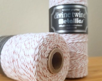 Divine Twine Metallics - 240 yard spool - Divine Twine Rose Gold metallic twine - rose gold and white bakers twine