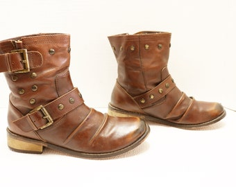 Mia ankle buckle strap  Brown boots  Size 7.5