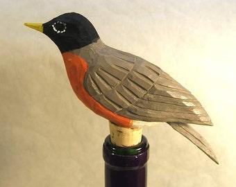 Robin Bottle Stopper Bird Wood Carving Art Sculpture  Barware