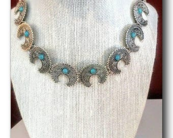 "Silver antique boho necklace.""City Spirit""boho chic,silver plated,antique,turquoise bead,reconstituted,howlite,gift, fun,anniversary,summer."