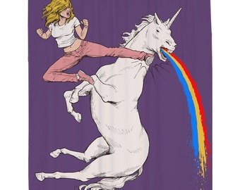 Unicorn Shower Curtain, Funny Shower Curtain, Puking Rainbows, Unicorn Art, Feminist Art, Comic Book, Purple Fabric, Mildew Resistant