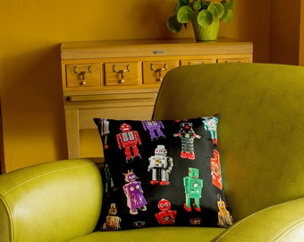 Robots Throw Pillow Cover - Vintage Robots - photos of vintage tin robots - custom backgrounds - 2-sided printing
