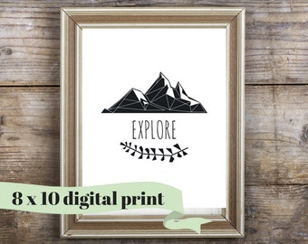 EXPLORE - Mountain Nursery Art - Instant Download - Printable Art - Woodland Nursery Art - 8 x 10 - Mountain Nursery Print