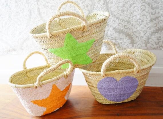 Kids Basket Panier Various Shapes -great for Storage, nursery, beach, picnic, holiday, Marrakech Basket Bag, Ramadan, Eid