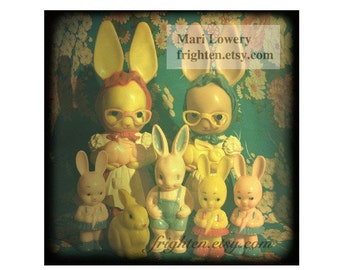 Vintage Plastic Bunny Rabbit Doll Collection 5x5 Inch Photography Print, Weird Easter Decor, frighten