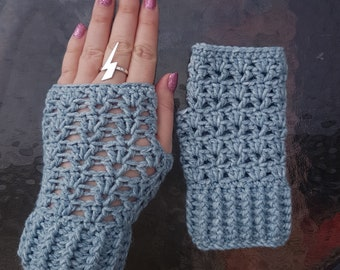 Handmade crochet fingerless gloves