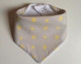 Bib - beige bandana with lemons and white Terry cloth / bib