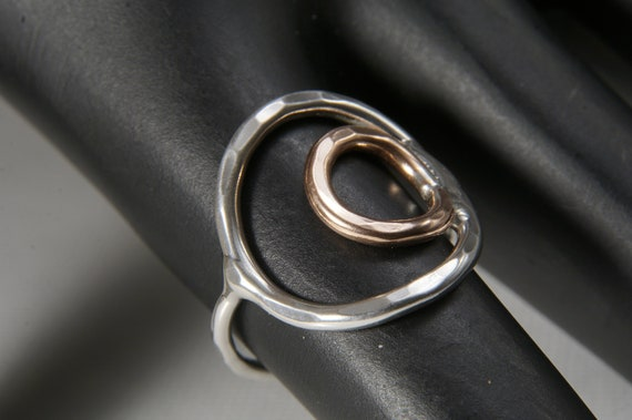 Larger Circle Sterling Silver and Copper Ring (custom fit to any size)