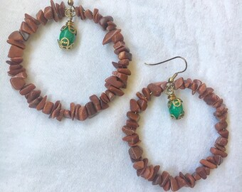Goldstone Beaded Hoop Earrings