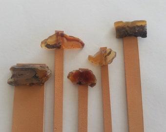 Agate Bookmarks, Bookmark Set, Rustic Bookmarks,