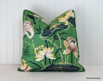 One or Both Sides - ONE Schumacher Lotus Garden Jade/Parchment/Mocha/Laquer/Lilac Pillow Cover with Self Cording