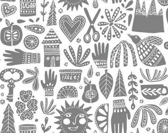 Fable Gray - Kindred - Cloud9 Fabrics - Organic Cotton - Poplin by the Yard