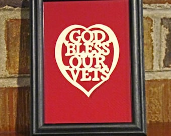 God Bless Our Vets - Scherenschnitte - Hand Paper Cutting Art signed and dated By Janet Lynch -4x6 Framed