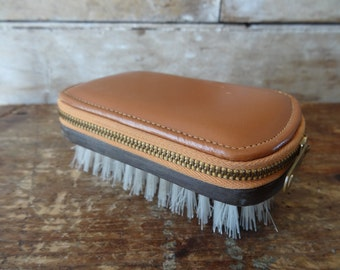 Vintage Mans Manicure and Brush Set Leather 1950s or 60s